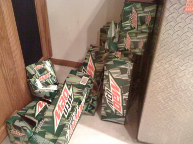 Evidence that Tolga Has Been Coding: Empty Mountain Dew Boxes