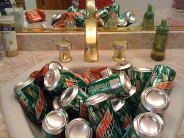 Evidence that Tolga Has Been Coding 2: Empty Mountain Dew Cans